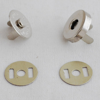 10 Sets Magnetic Snap Button Bag Clasp - 18mm - Silver