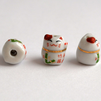 Maneki Neko Lucky Cat Porcelain Bead - Feng Shui - Bamboo Safe and Sound
