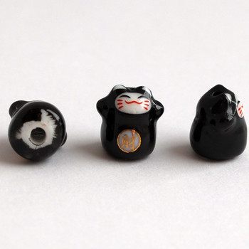 Maneki Neko Lucky Cat Porcelain Bead - Feng Shui - Wealth - Black