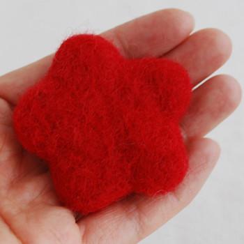 100% Wool Felt Flower - 5cm - Red