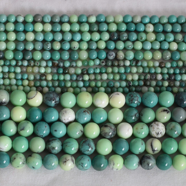 High Quality Grade A Natural Moss Green Opal Semi-precious Gemstone Round Beads - 4mm, 6mm, 8mm, 10mm sizes