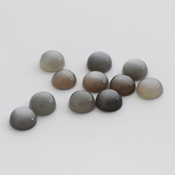 Grade AA Natural Grey Moonstone Semi-precious Gemstone Round Cabochon - 3mm, 4mm, 5mm, 6mm, 7mm, 8mm, 10mm sizes