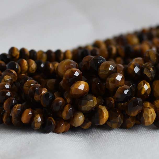 High Quality Grade A Natural Tiger Eye Semi-Precious Gemstone Faceted Rondelle / Spacer Beads - 3mm, 4mm, 6mm, 8mm sizes