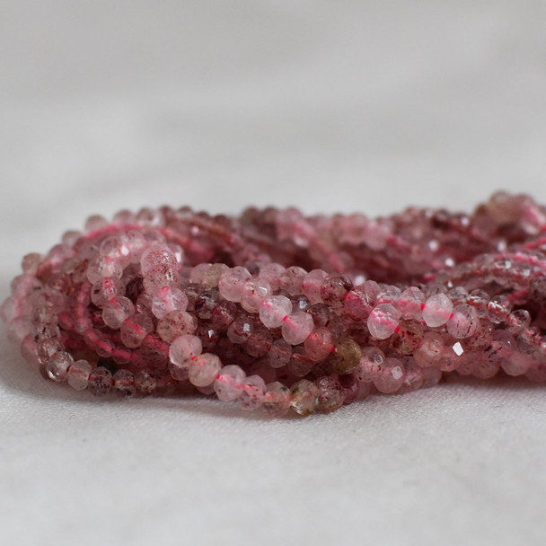High Quality Grade A Natural Strawberry Quartz Semi-Precious Gemstone Faceted Rondelle / Spacer Beads - 3mm, 4mm sizes