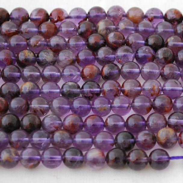High Quality Grade A Natural Purple Rutilated Quartz Semi-precious Gemstone Round Beads - 6mm, 8mm, 10mm sizes