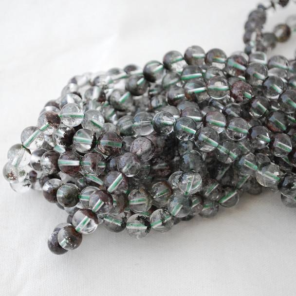 High Quality Grade A Natural Green Phantom Quartz Semi-precious Gemstone Round Beads - 4mm, 6mm, 8mm, 10mm sizes