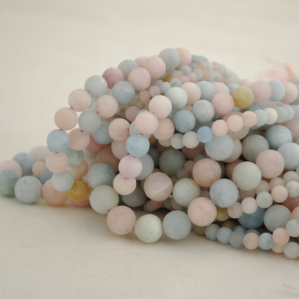 High Quality Grade A Natural Beryl / Morganite Frosted / Matte Semi-Precious Gemstone Round Beads - 4mm, 6mm, 8mm, 10mm sizes