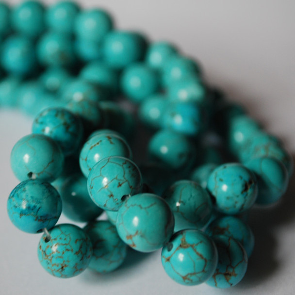 High Quality Turquoise (dyed from natural Chinese Turquoise) Semi-precious Gemstone Round Beads - 4mm, 6mm, 8mm, 10mm, 12mm