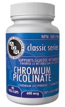 AOR Chromium Picolinate 600mg, 90 VegCaps