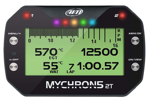 AiM MyChron5 2T Dual-Temperature Digital Karting Dash, Data Logger & Laptimer