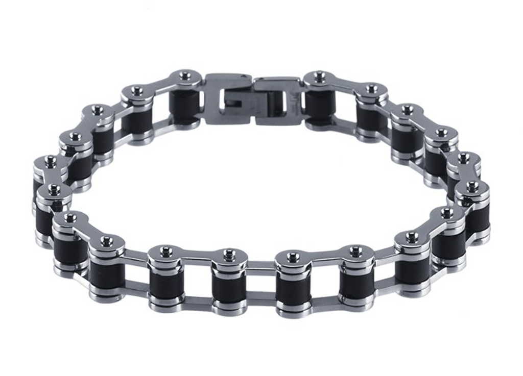 Polished Stainless Steel and Rubber Bracelet