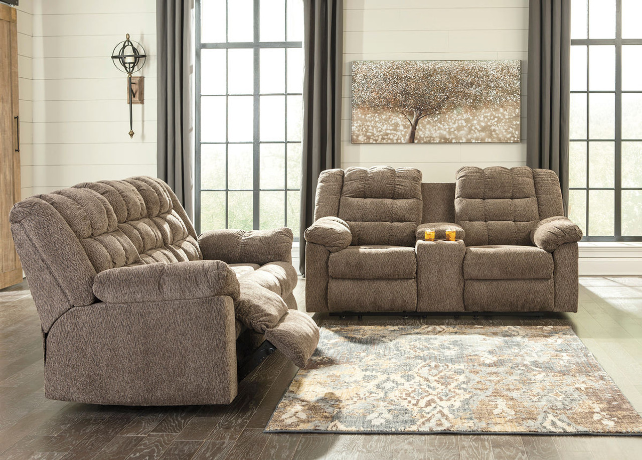 Workhorse Cocoa Reclining Sofa U0026 Double Reclining Loveseat With Console