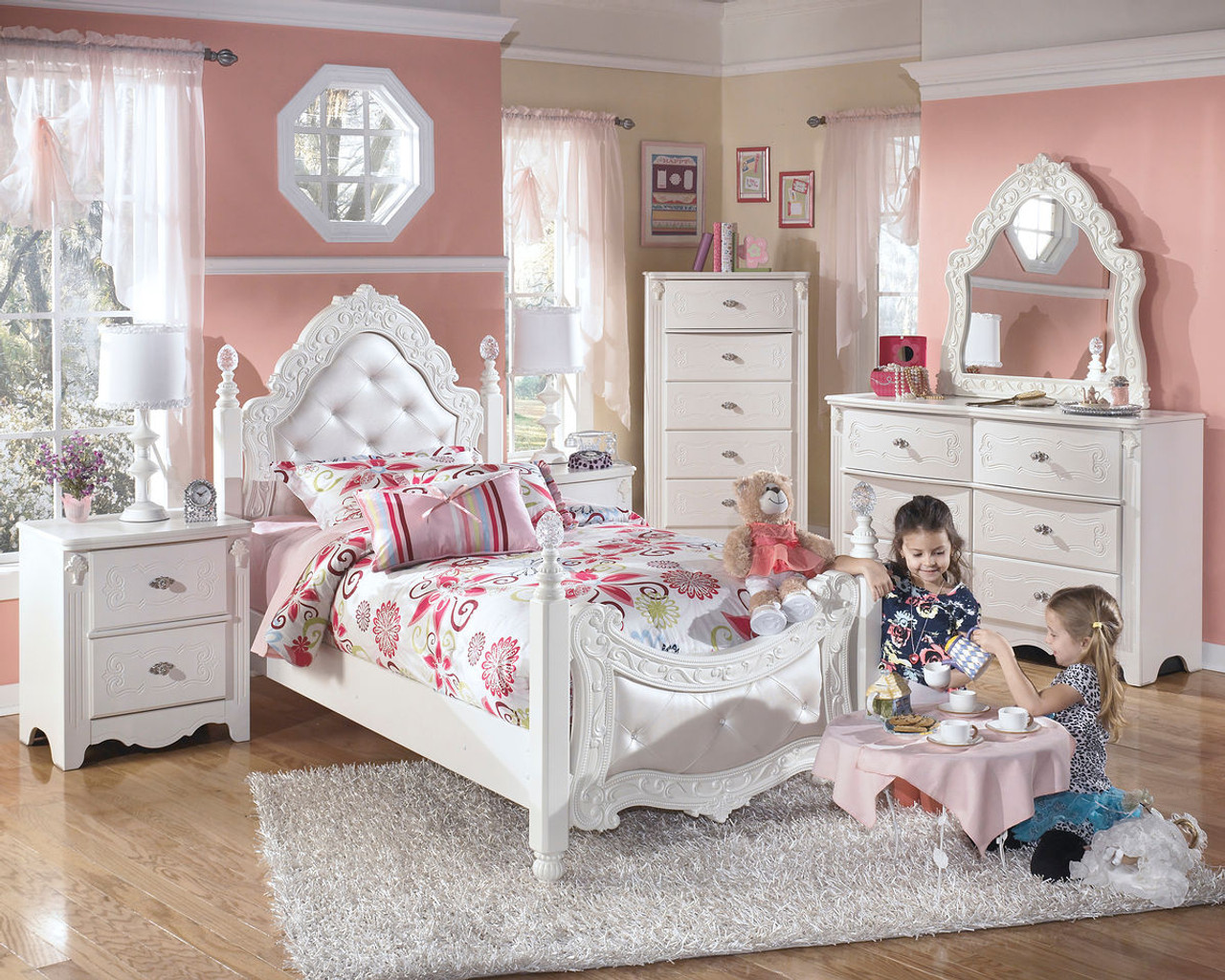 Exquisite White 6 Pc Dresser French Style Mirror Twin Padded Poster Bed