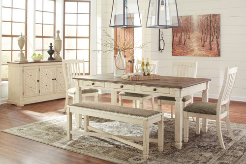 Bolanburg Antique White 7 Pc. Rectangular Dining Room Table, 4 Upholstered  Side Chairs,