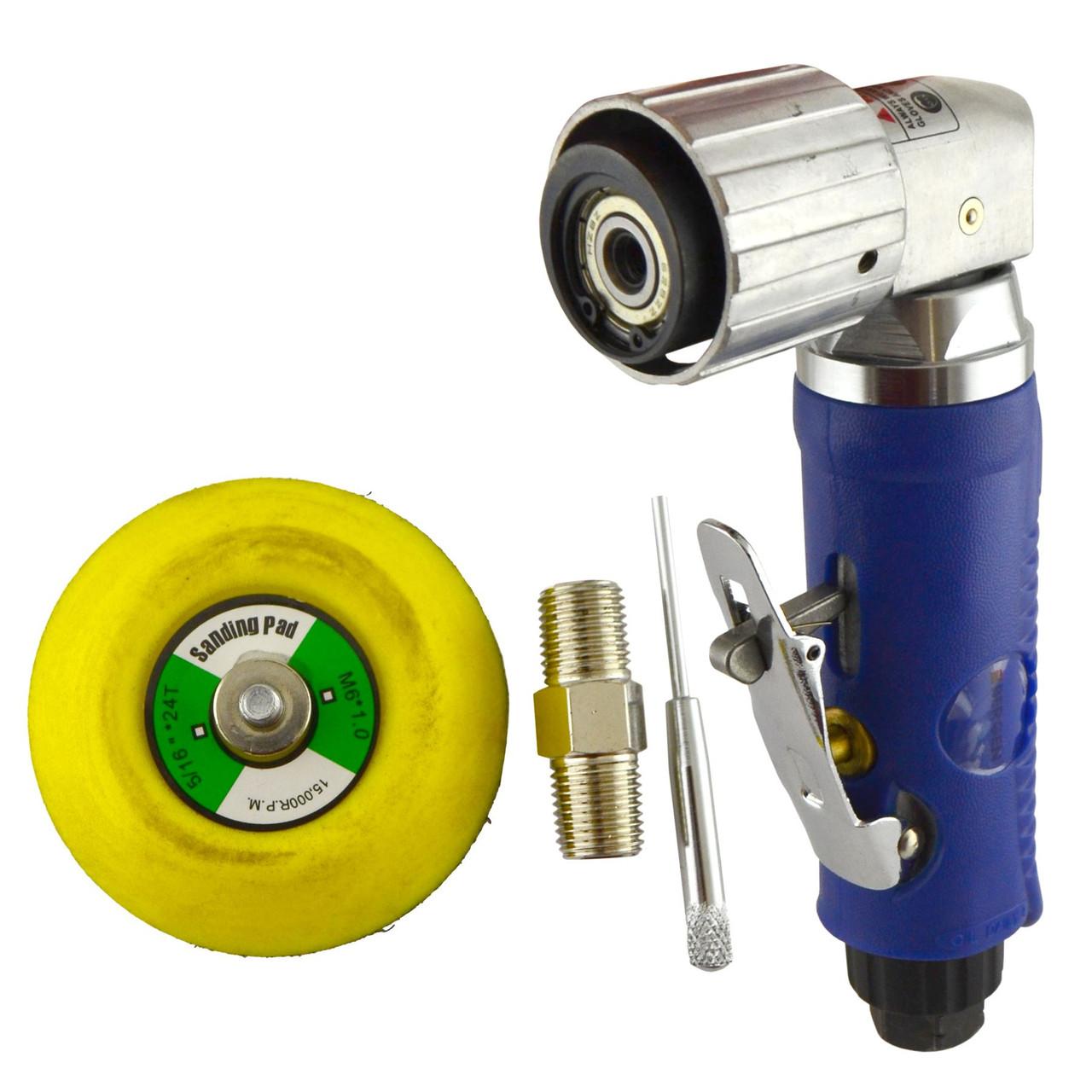 "2"" Air Angle Sander Grinder Polisher And 100 Pack 120 Sanding Grit Hook/Loop Pads"