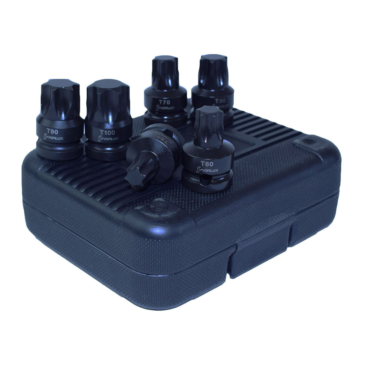"Impact 1/2"" Drive Shallow Stubby Torx Star Male Bit Sockets T55 - T100 6pc Set"