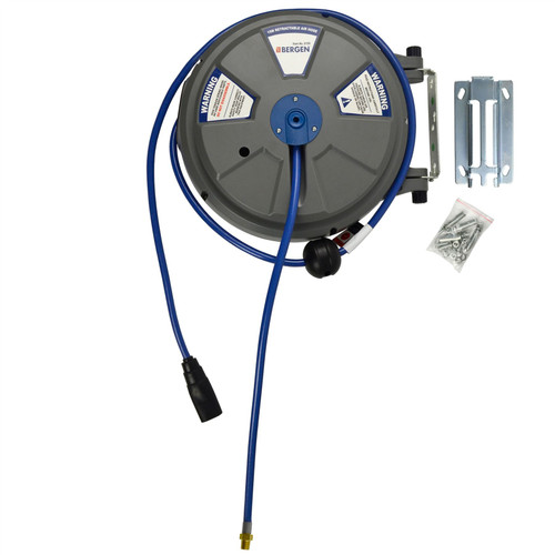 """8mm (1/4"""") x 15m (50ft) Retractable Wall Mounted Air Hose Reel BERGEN AT877"""