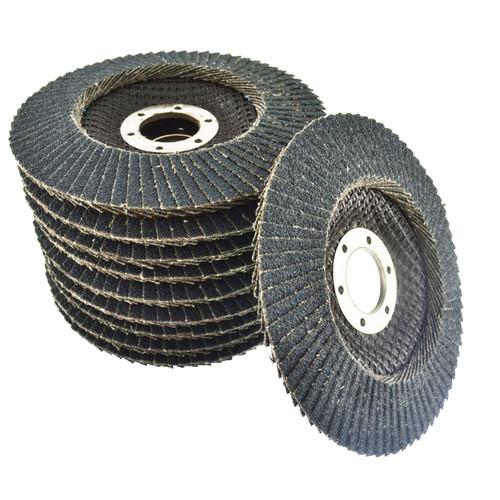 "10 x Zirconium Flap Discs 80 Grit Angle Grinder 4.5"" (115mm) Flat Sanding AT930"