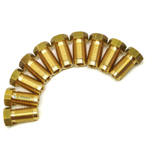 "Brass Brake Pipe Fittings 3/8"" x 24 UNF Male 10 PACK for 3/16"" Pipe FL10"