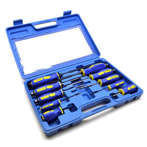 10pc Professional Screwdriver Case Phillips Flat Head Hex End Go-Through TE308