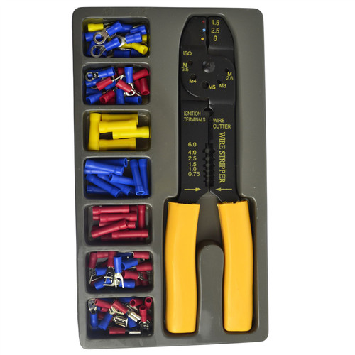 Crimper Plier Wire Cutter Stripper and Electrical Terminal Connector 101pc TE758