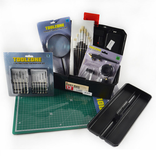 Hobby and Crafts Hamper / Bundle Christmas Gift / Toolbox / Storage / Screwdriver / Magnifier / Paint Brushes / Self Healing Mat / Air Brush Kit