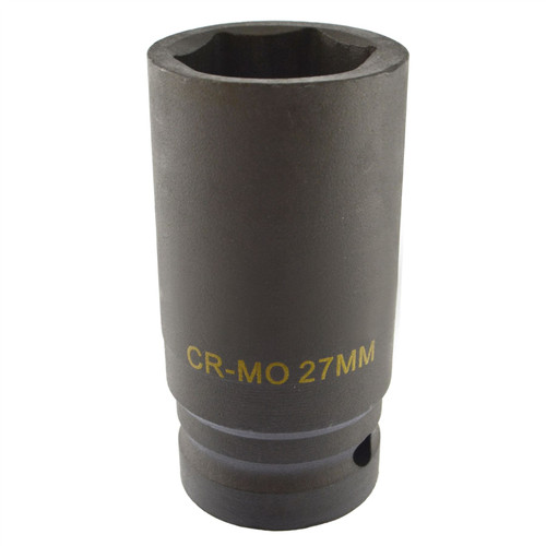 27mm Metric 3/4 Drive Double Deep Impact Socket 6 Sided Single Hex Thick Walled