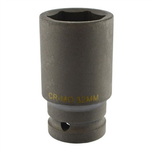 32mm Metric 3/4 Drive Double Deep Impact Socket 6 Sided Single Hex Thick Walled