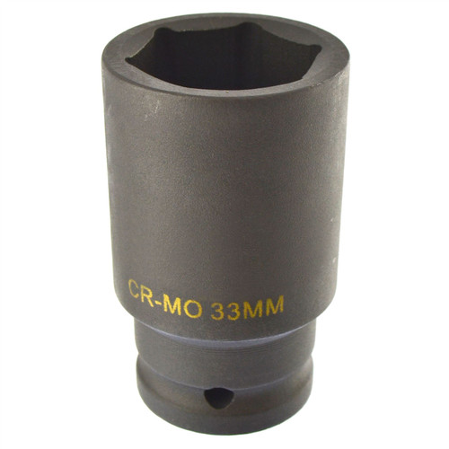 33mm Metric 3/4 Drive Double Deep Impact Socket 6 Sided Single Hex Thick Walled