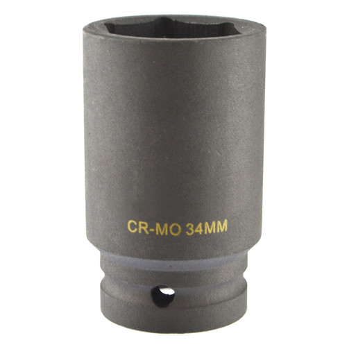 34mm Metric 3/4 Drive Double Deep Impact Socket 6 Sided Single Hex Thick Walled