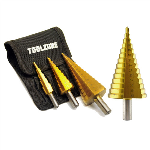 4 - 42mm Step Cone Drill 14 Steps Hole Cutter HSS 4341 Titanium Finish Reamer 4pk