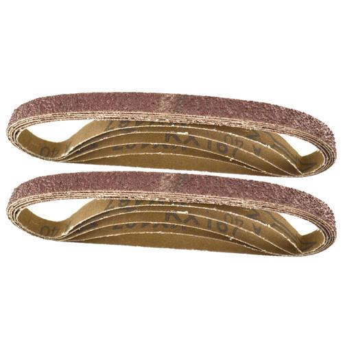 Belt Power Finger File Sander Abrasive Sanding Belts 457mm x 13mm 40 Grit 10 PK