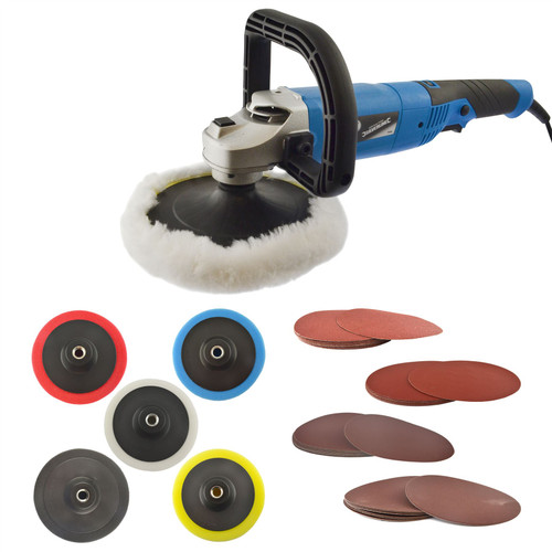 180mm Polisher 1200W Electric Variable Speed Rotary Car Buffer & Sander Kit