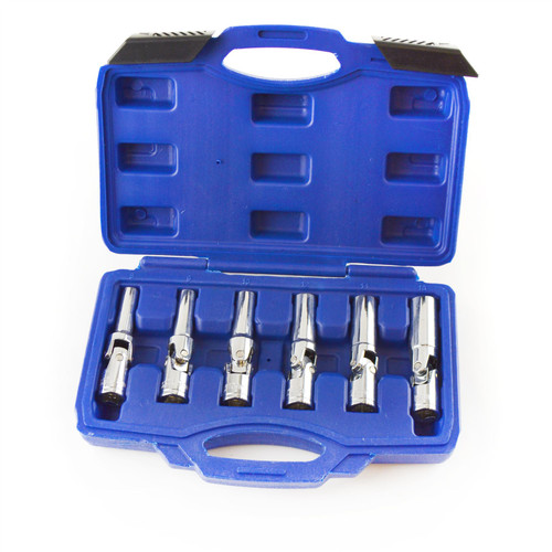 "3/8"" Dr Glow Plug 6pc Socket Set 8mm - 16mm Flexible Socket Joint Swivel TE911"