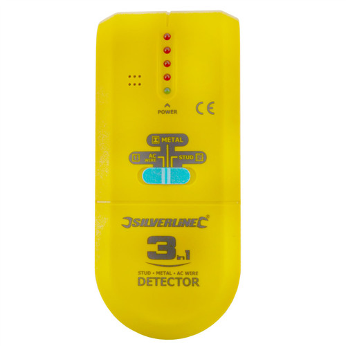 3 in 1 Detector Detects Studs Joists Live Wires Metal Objects Cables Pipes SIL131