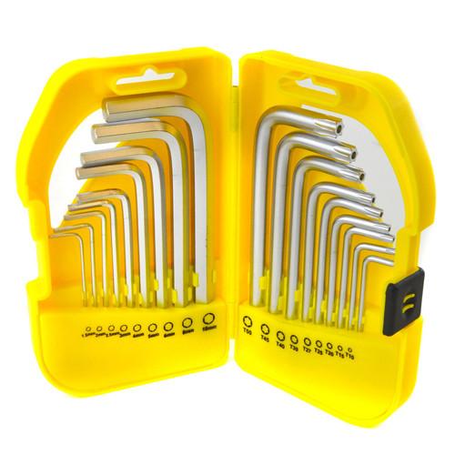 Short Hex / Allen / Torx / Tamper Key Set 18pc 1.5 - 10mm / T10 - T50 Bergen