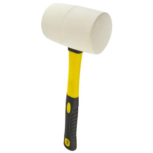 32oz White Rubber Mallet 70% Fibreglass Handle Hammer Non Marking TE869