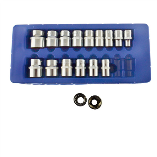 "1/2"" Drive Metric Shallow Sockets 10mm - 30mm 17pc Bi- Hex 12 Sided Bergen"