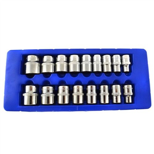 "1/2"" Drive Metric Shallow Sockets 10mm - 30mm 17pc Single Hex 6 Sided Bergen"
