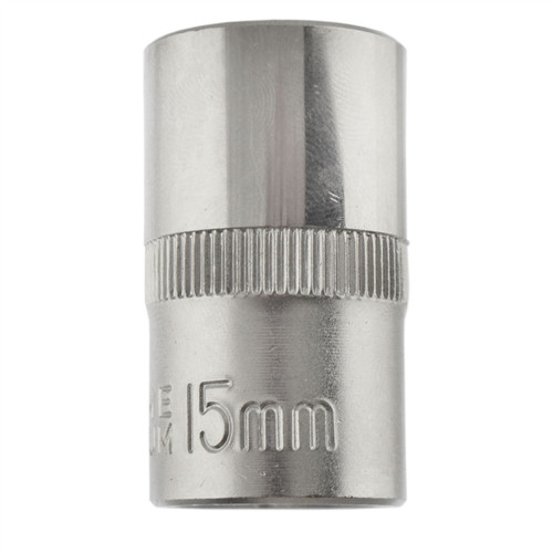 "15mm 1/2"" Dr Socket Super Lock Metric Shallow CRV Knurl Grip 6 Point TE799"