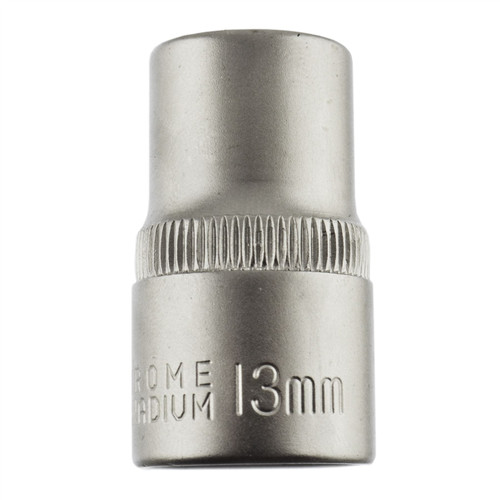 "13mm 1/2"" Dr Socket Super Lock Metric Shallow CRV Knurl Grip 6 Point TE800"
