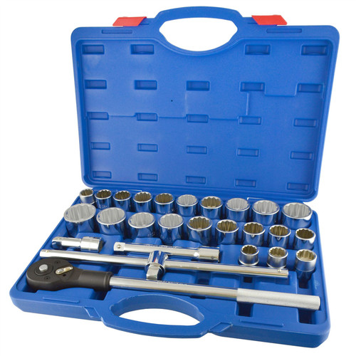 """26pc 3/4"""" Dr Socket Set Metric Imperial AF SAE Ratchet Wrench 12 Point TE806"""