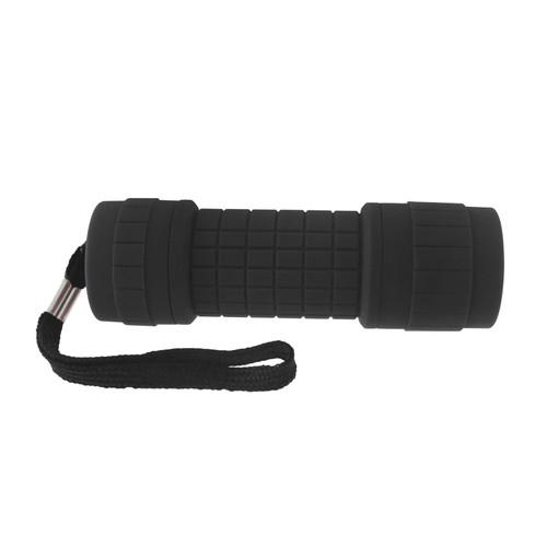 9 LED Black Torch Light Mini Flashlight Camping Hiking Rubber Case GAR67