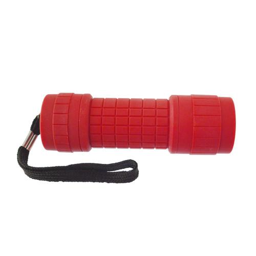 9 LED Red Torch Light Mini Flashlight Camping Hiking Rubber Case GAR69