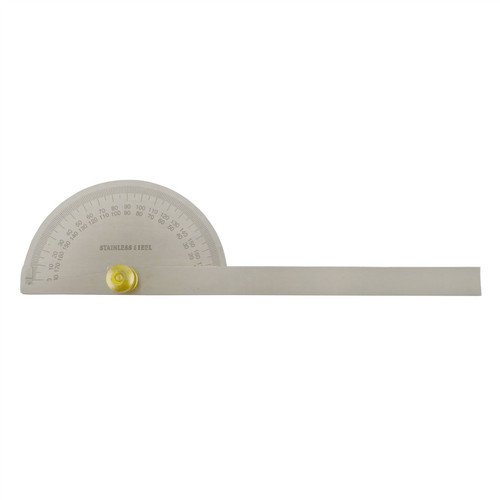 Engineers Protractor 180 Degree Stainless Steel Measuring Angle Marking SIL194