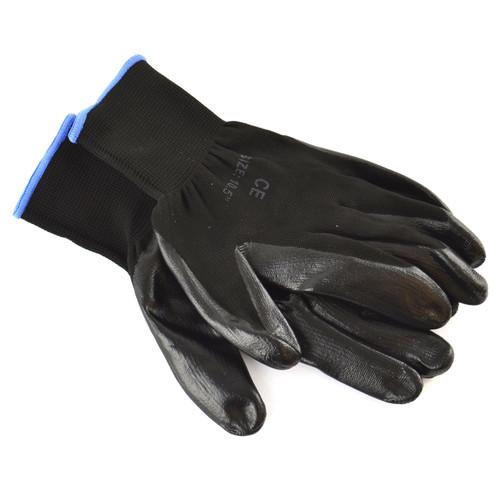 "10.5"" Nitrile Coated Work Gloves (1 Pair) Breathable / Improved Grip Black TE936"