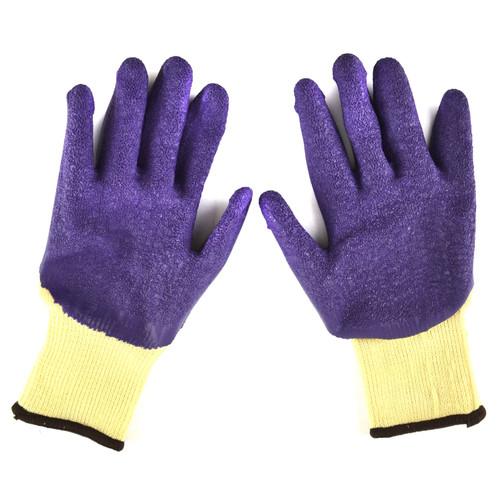 "8"" Builders Protective Gardening DIY Latex Rubber Coated Work Gloves Purple"