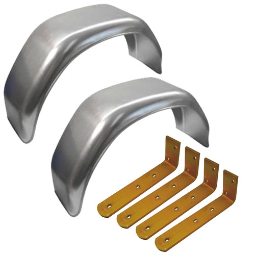 """13"""" Metal Mudguards Fender (Pair) Offset Fit & Mud Guard Angle (LARGE) Brackets (4 Pack)"""