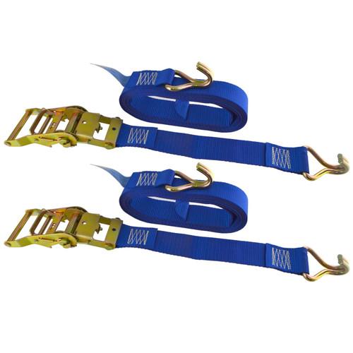 Blue Ratchet Strap Tie Down Trailer 5m Hook Cargo Strap 750kg Lashing x 2 (Pair)