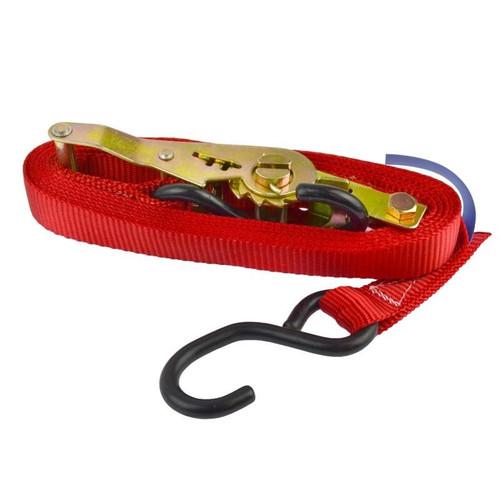 Red Ratchet Strap Tie Down Trailer 4m Hook Cargo Strap 325kg Lashing SM013
